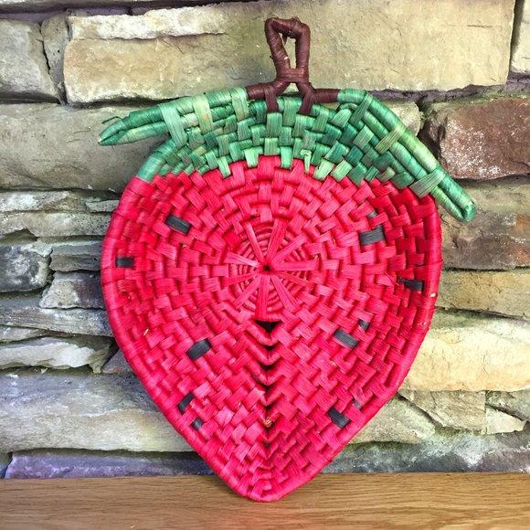 Vintage Strawberry Raffia Basket Cottagecore